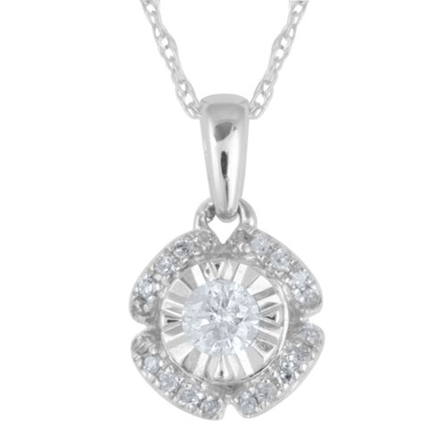 9K W Gold Diamond (Rnd) Pendant with Chain 0.250 Ct.