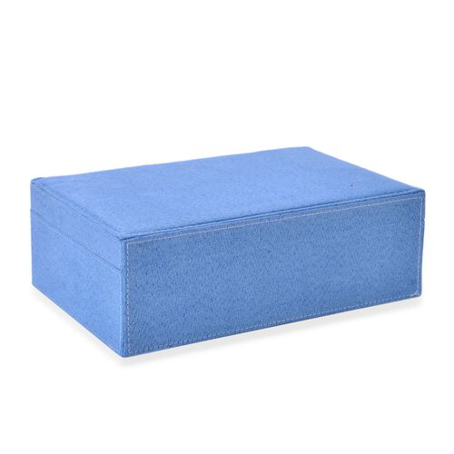 Light Turquoise Colour Velvet Jewellery Box with Mirror Inside (Size 25X16X8.5 Cm)