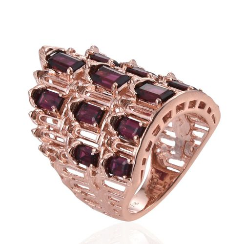 Odisha Rhodolite Garnet (Oct), African Ruby Palace of Winds Ring in Rose Gold Overlay Sterling Silver 5.000 Ct.