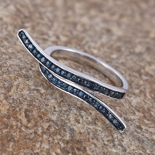 Blue Diamond (Rnd) Crossover Ring in Platinum Overlay Sterling Silver 0.100 Ct.