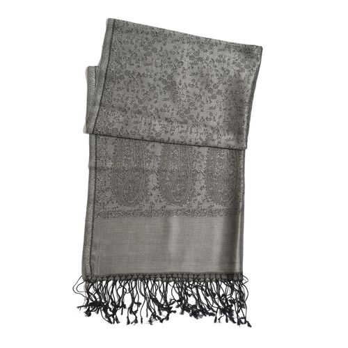 100% Superfine Silk Grey and Black Colour Paisley and Floral Pattern Jacquard Jamawar Scarf with Fringes (Size 180x70 Cm) (Weight 125-140 Grams)