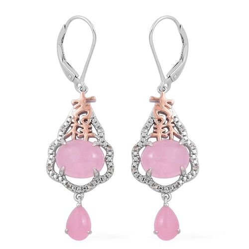 Pink Jade (Ovl), White Topaz Lever Back Earrings in Rose Gold Overlay and Sterling Silver 8.100 Ct.