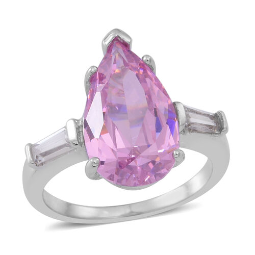 ELANZA AAA Simulated Kunzite (Pear), Simulated White Diamond Ring in Rhodium Plated Sterling Silver