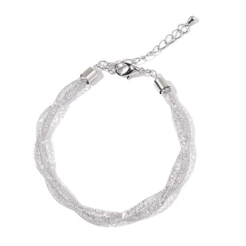 White Austrian Crystal Necklace (Size 16 with 2 inch Extender) and Bracelet (Size 7 with 1.5 inch Extender) in Silver Tone