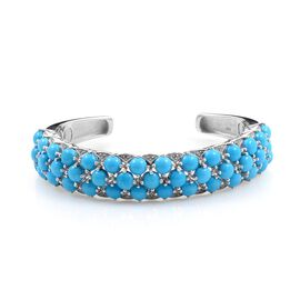 Arizona Sleeping Beauty Turquoise (Rnd), Diamond Cuff Bangle in Platinum Overlay Sterling Silver (Size 7.5) 16.100 Ct.