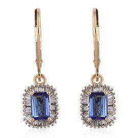 ILIANA 18K Yellow Gold 1.75 Carat AAA Tanzanite Lever Back Earrings With Diamond SI G-H