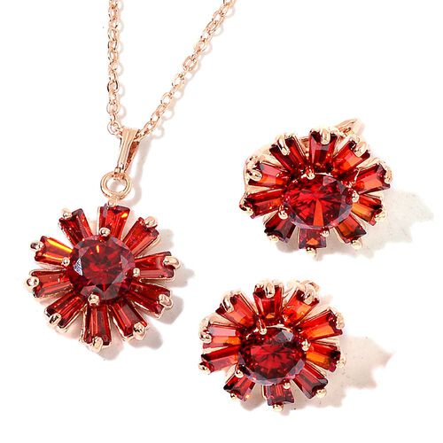 AAA Simulated Ruby Flower Pendant with Chain (Size 22) and Stud Earrings in Rose Gold Tone