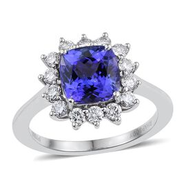 RHAPSODY 950 Platinum AAAA Tanzanite (Cush 2.70 Ct), Diamond Ring 3.350 Ct.