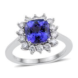 RHAPSODY 950 Platinum AAAA Tanzanite (Cush 2.70 Ct), Diamond Ring 3.350 Ct.