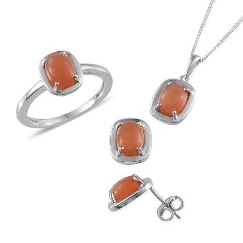 Mitiyagoda Peach Moonstone (Cush) Solitaire Ring, Pendant With Chain and Stud Earrings (with Push Back) in Platinum Overlay Sterling Silver 7.000 Ct.