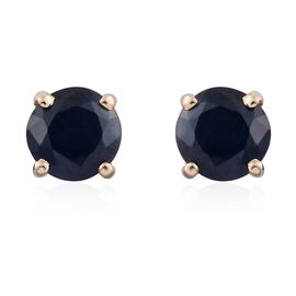 9K Yellow Gold 1.05 Ct AA Kanchanaburi Blue Sapphire Solitaire Stud Earrings with Push Back