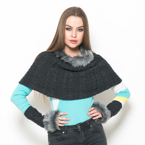 Charcoal Colour Knitted Snood and Hand Gloves with Fur
