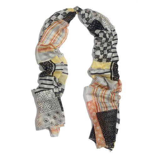 100% Mulberry Silk Silver, Black and Multi Colour Printed Scarf (Size 180x100 Cm)