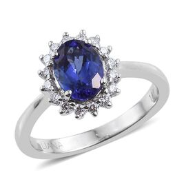 ILIANA 18K W Gold AAA Tanzanite (Ovl), Diamond Ring 1.500 Ct.
