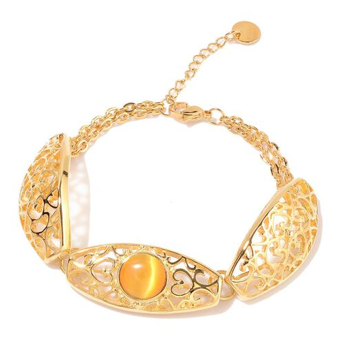 Simulated Yellow Cats Eye Bracelet (Size 7.5) in ION Plated Yellow Gold Stainless Steel