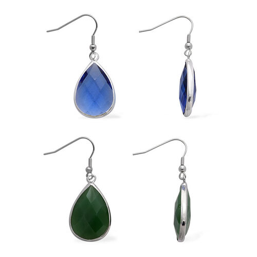 Set of 2 - Blue and Green Glass Hook Earrings in Silver Tone