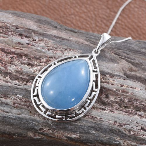 Blue Jade (Pear) Pendant With Chain in Platinum Overlay Sterling Silver 19.500 Ct.