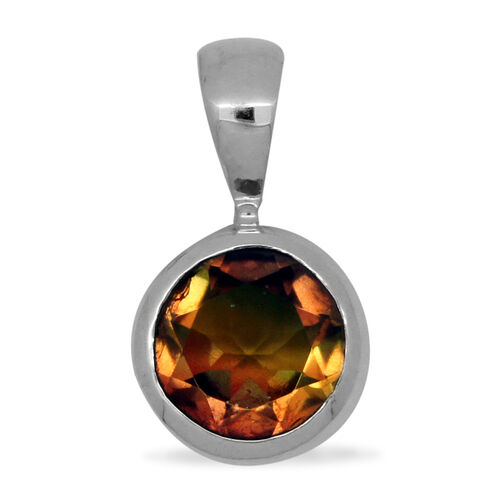 Royal Bali Collection Rainbow Genesis Quartz (Rnd) Solitaire Pendant in Platinum Overlay Sterling Silver 3.600 Ct.