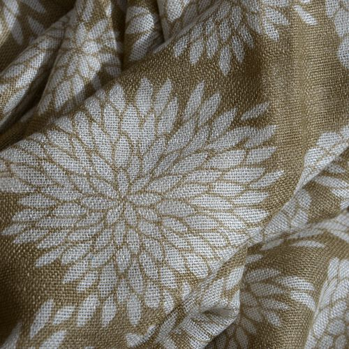 Spring Collection - White Colour Floral Pattern Light Brown Colour Scarf (Size 180x55 Cm)