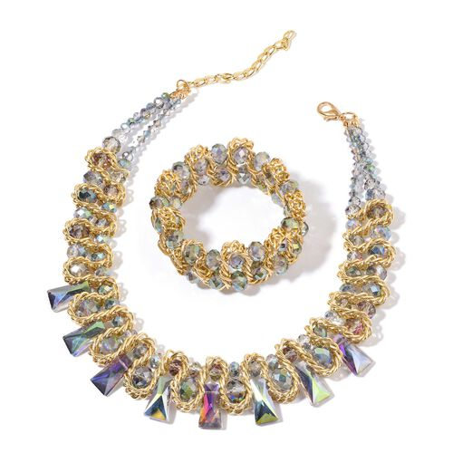 Simulated Multi Colour Diamond Necklace (Size 16 with 4 inch Extender) and Stretchable Bracelet (Size 7.50) in Yellow Gold Tone