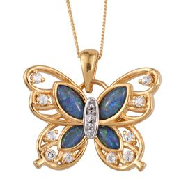 Australian Boulder Opal (Mrq), White Topaz Butterfly Pendant with Chain in 14K Gold Overlay Sterling Silver 1.750 Ct.