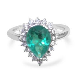 ILIANA 18K W Gold Boyaca Colombian Emerald (Pear 1.72 Ct), Diamond Ring 2.010 Ct.
