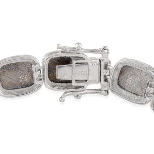 Meteorite (Cush) Bracelet (Size 7.5) in Platinum Overlay Sterling Silver 109.250 Ct.