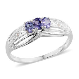 Tanzanite (Ovl), Diamond Ring in Sterling Silver 0.510 Ct.