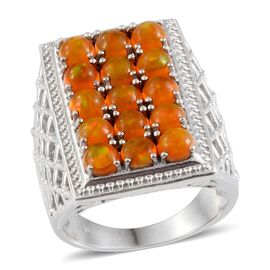 Orange Ethiopian Opal (Rnd) Ring in Platinum Overlay Sterling Silver 2.250 Ct.
