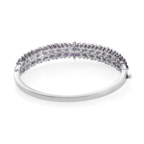 AA Lusaka Amethyst (Rnd) Bangle (Size 7.5) in Platinum Overlay Sterling Silver 11.250 Ct.