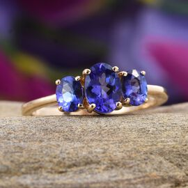 ILIANA 18K Y Gold AAA Tanzanite (Ovl 0.75 Ct) 3 Stone Ring 1.500 Ct.