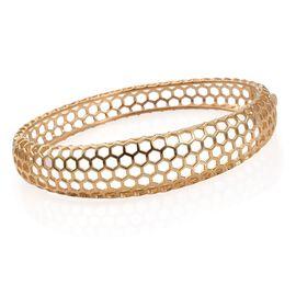 Designer Inspired Honey Comb 14K Gold Overlay Sterling Silver Bangle (Size 7.5), Silver wt 22.00 Gms.