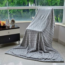 Superfine Microfibre Brushed Triangle Flannel Reverse Sherpa Blanket Light Grey (Size 130x200 Cm)