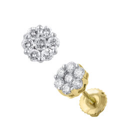 ILIANA 18K Y Gold IGI Certified Diamond (Rnd) (SI/ G-H) Floral Stud Earrings (with Screw Back) 0.500 Ct.