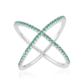 ELANZA AAA Simulated Emerald (Rnd) Criss Cross Ring in Rhodium Plated Sterling Silver
