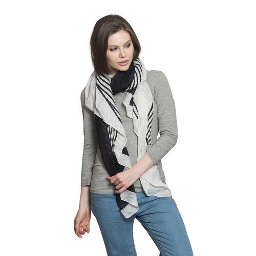 Stripe Pattern Black and White Colour Scarf (Size 180x100 Cm)