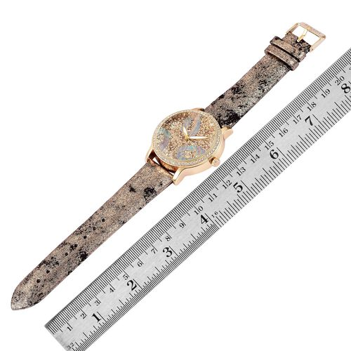 STRADA Japanese Movement Champagne Stardust Dial with White Austrian Crystal Water Resistant Watch in Yellow Gold Tone with Stainless Steel Back and Champagne Colour Strap
