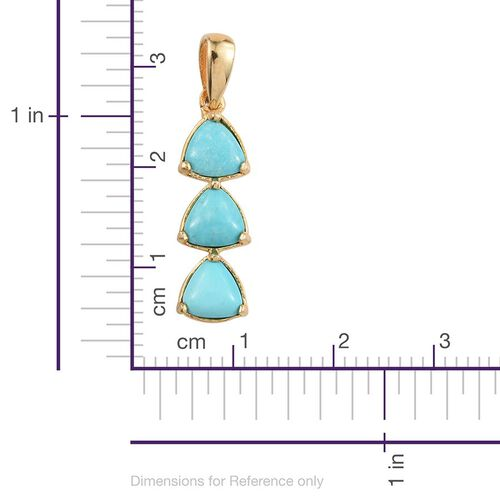 Kingman Turquoise (Trl) Trilogy Pendant in 14K Gold Overlay Sterling Silver 2.250 Ct.