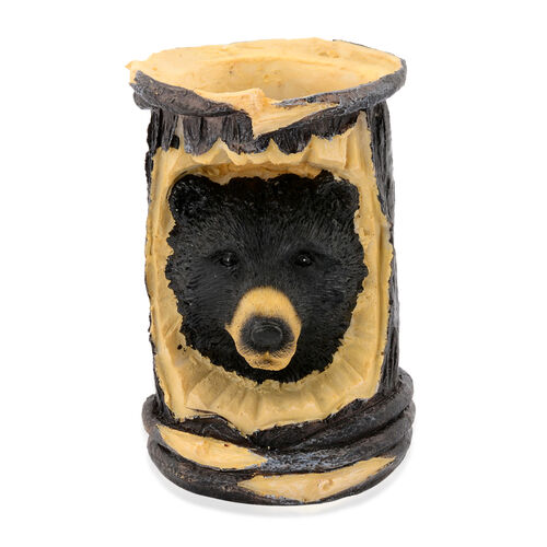 Home Decor - Black Bear Design Light Yellow Colour Pen Holder with Resin