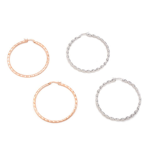 Set of 2 - Close Out Deal Rose Gold Plated and Stainless Steel Hoop Earrings