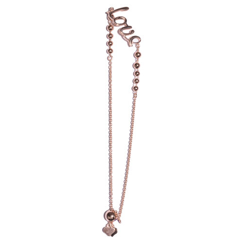 Rose Gold Overlay Sterling Silver Adjustable Love Charm Bracelet (Size 6.5 to 7.5), Silver wt 3.10 Gms.