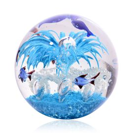 Home Decor / Hand Blown Glow in the Dark Blue Glass Sea View Blue Jellyfish Paperweight (Size 11x10 Cm)