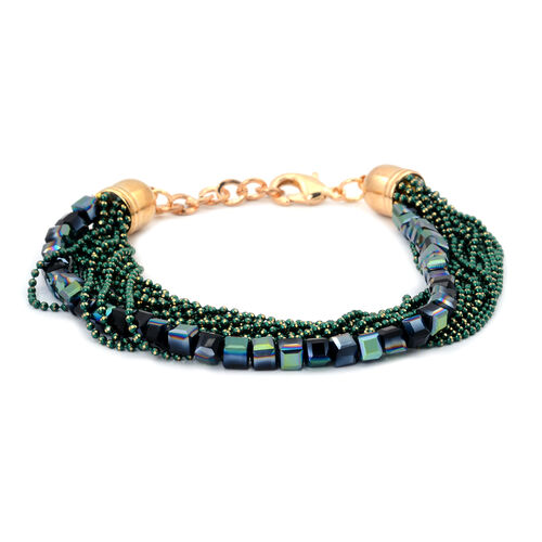 Handmade 19 Strand, Multi layer Diamond Cut Green Beaded Chain and Cubical Glass Bracelet