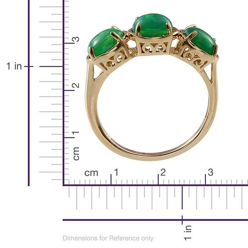 Green Ethiopian Opal (Ovl) Trilogy Ring in 14K Gold Overlay Sterling Silver 1.750 Ct.