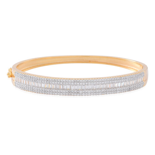Signature Collection ELANZA AAA Simulated White Diamond (Bgt) Bangle (Size 6.5) in 14K Gold Overlay Sterling Silver. Silver Wt 20 grams