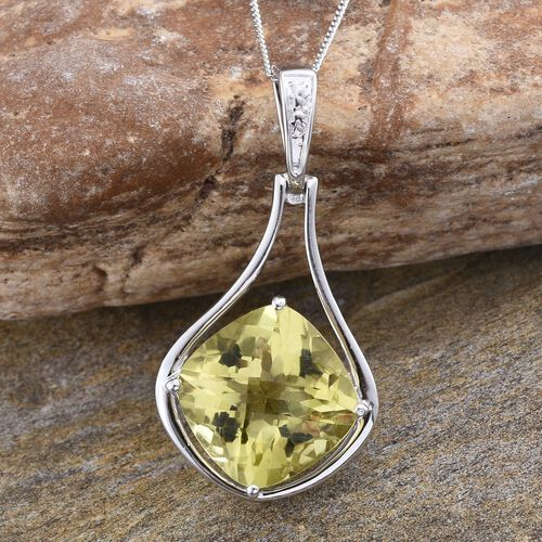 Brazilian Green Gold Quartz (Cush) Pendant With Chain in Platinum Overlay Sterling Silver 10.000 Ct.