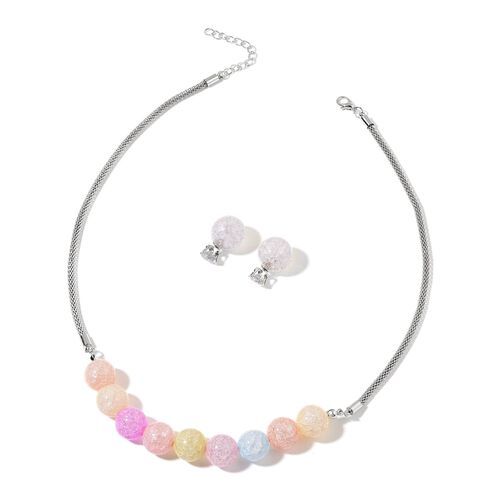 Multi Colour Glass and Simulated White Diamond Necklace (Size 20 with 2 inch Extender) and Stud Earrings (with Push Back) in Silver Tone