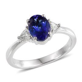 RHAPSODY 950 Platinum AAAA Tanzanite (Ovl 1.30 Ct), Diamond Ring 1.500 Ct.