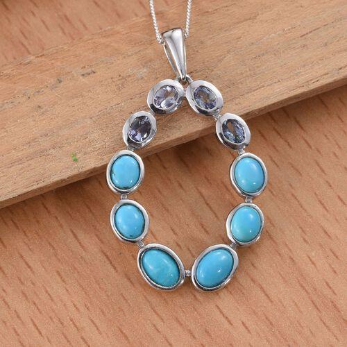 Arizona Sleeping Beauty Turquoise (Ovl), Bondi Blue Tanzanite Pendant with Chain in Platinum Overlay Sterling Silver 3.250 Ct.