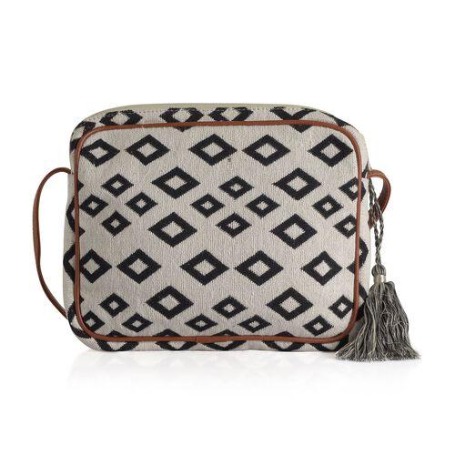 Black and White Colour Diamond Pattern Crossbody Bag (Size 28x22x4.5 Cm)